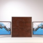 wood, copper, grafithe, photo, glass 48 x 130 x 5,5 cm / 2008