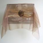 copper, clay, wool, organza, embroidery 50 x 37,5 x 20 cm / 2005