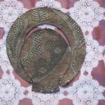 lace, organza, lead, brass nails, wood 67 x 134 x 4,5 cm / 2010