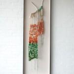 felt, woolen thread, branche, wooden frame 171 x 58 x 12 cm / 2013