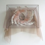 copper, clay, wool, organza, embroidery 37,5 x 50 x 20 cm / 2005