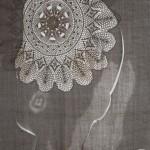 metal frame, linen table cloth, lace 174 x 70 x 70 cm / 2005