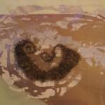 copper, clay, organza, embroidery 160 x 350 x 33 cm / 2004