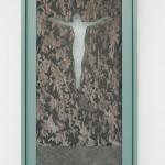linen organza, ausbrenner, lead, wood 60 x 32 x 4 cm / 2015