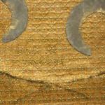 gold fabric, organza, lead, brass nails, wood 67 x 134 x 4,5 cm / 2010
