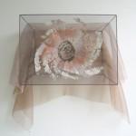 copper, clay, wool, organza, embroidery 37,5 x 50 x 20 cm / 2005