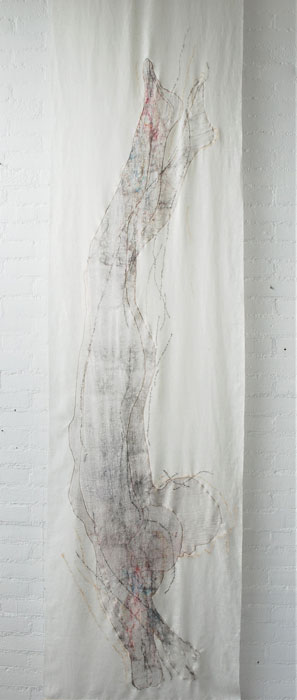 linen, bandage, wool and silk fiber, embroidery 253 x 63 x 1 cm / 2020